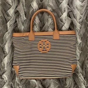 Tory Burch Navy and Tan Stripped Tote
